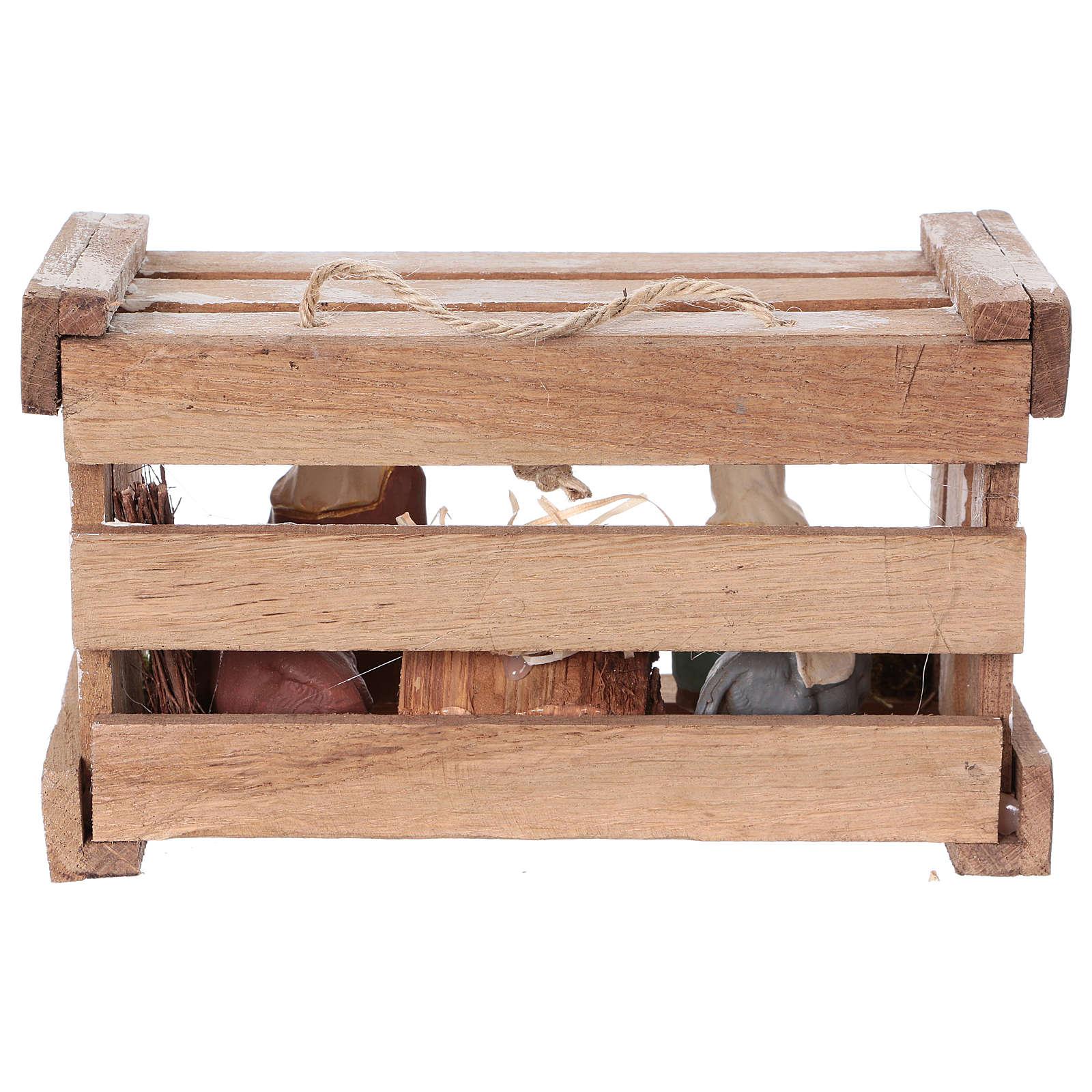 Cassetta portatile in legno con Natività presepe 8 cm Deruta 4