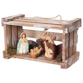 Cassetta portatile in legno con Natività presepe 8 cm Deruta s4