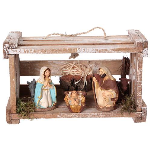 Cassetta portatile in legno con Natività presepe 8 cm Deruta 1