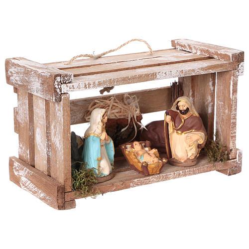 Cassetta portatile in legno con Natività presepe 8 cm Deruta 3