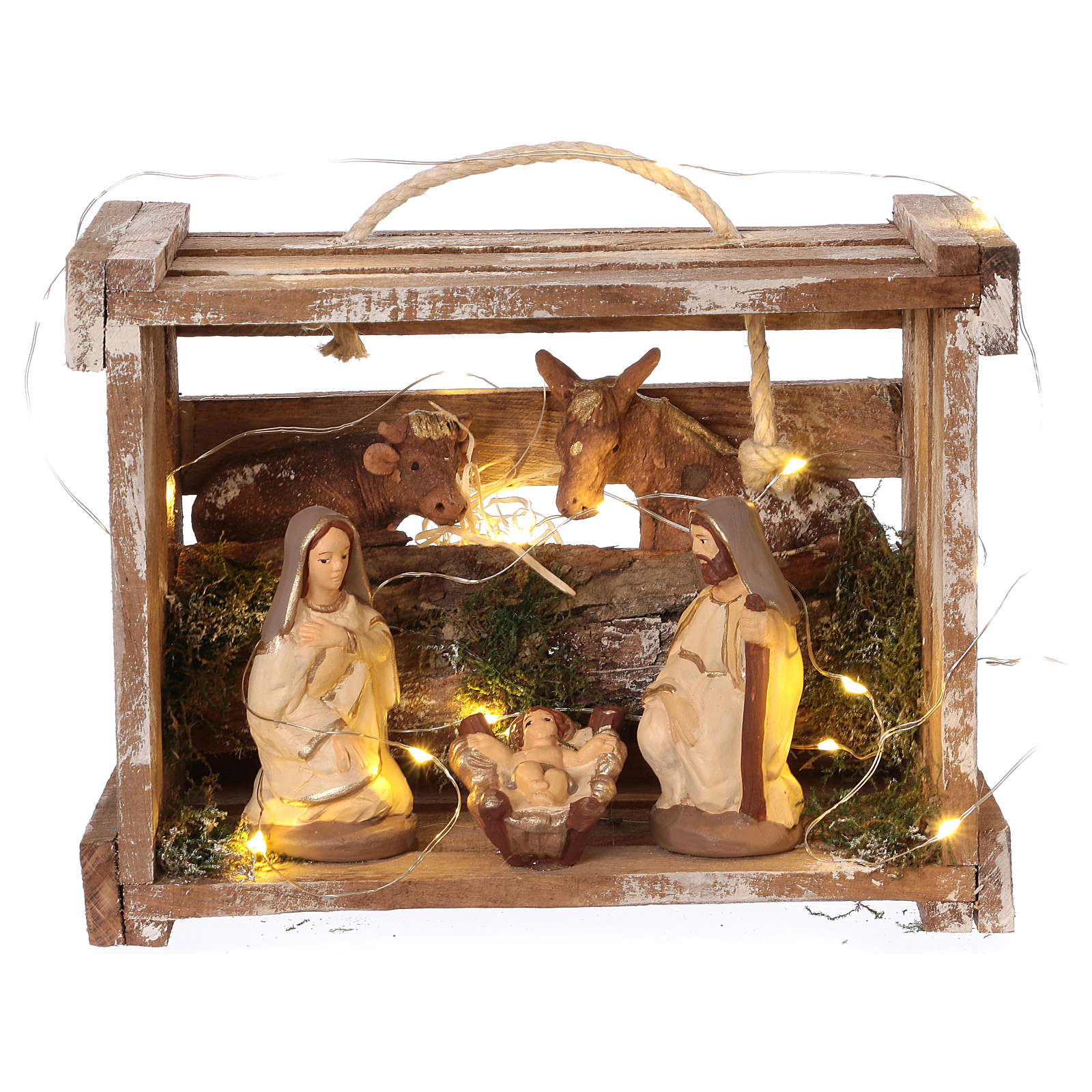 Portable wood box with lights and Deruta Nativity scene 10 cm 4
