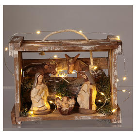 Portable wood box with lights and Deruta Nativity scene 10 cm s2