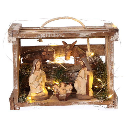 Portable wood box with lights and Deruta Nativity scene 10 cm 1