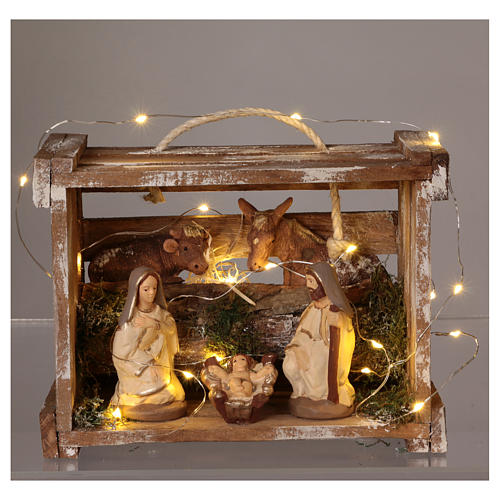 Portable wood box with lights and Deruta Nativity scene 10 cm 2