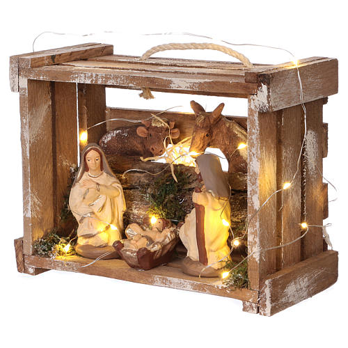 Portable wood box with lights and Deruta Nativity scene 10 cm 3