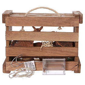 Cajita con luces portátil madera Natividad belén 10 cm Deruta s5