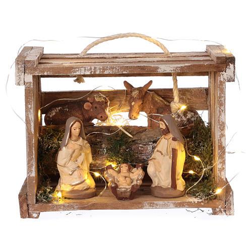 Cajita con luces portátil madera Natividad belén 10 cm Deruta 1