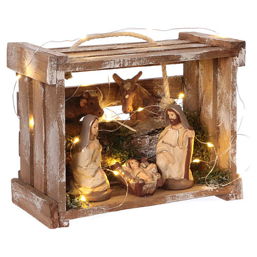 Cajita con luces portátil madera Natividad belén 10 cm Deruta 4