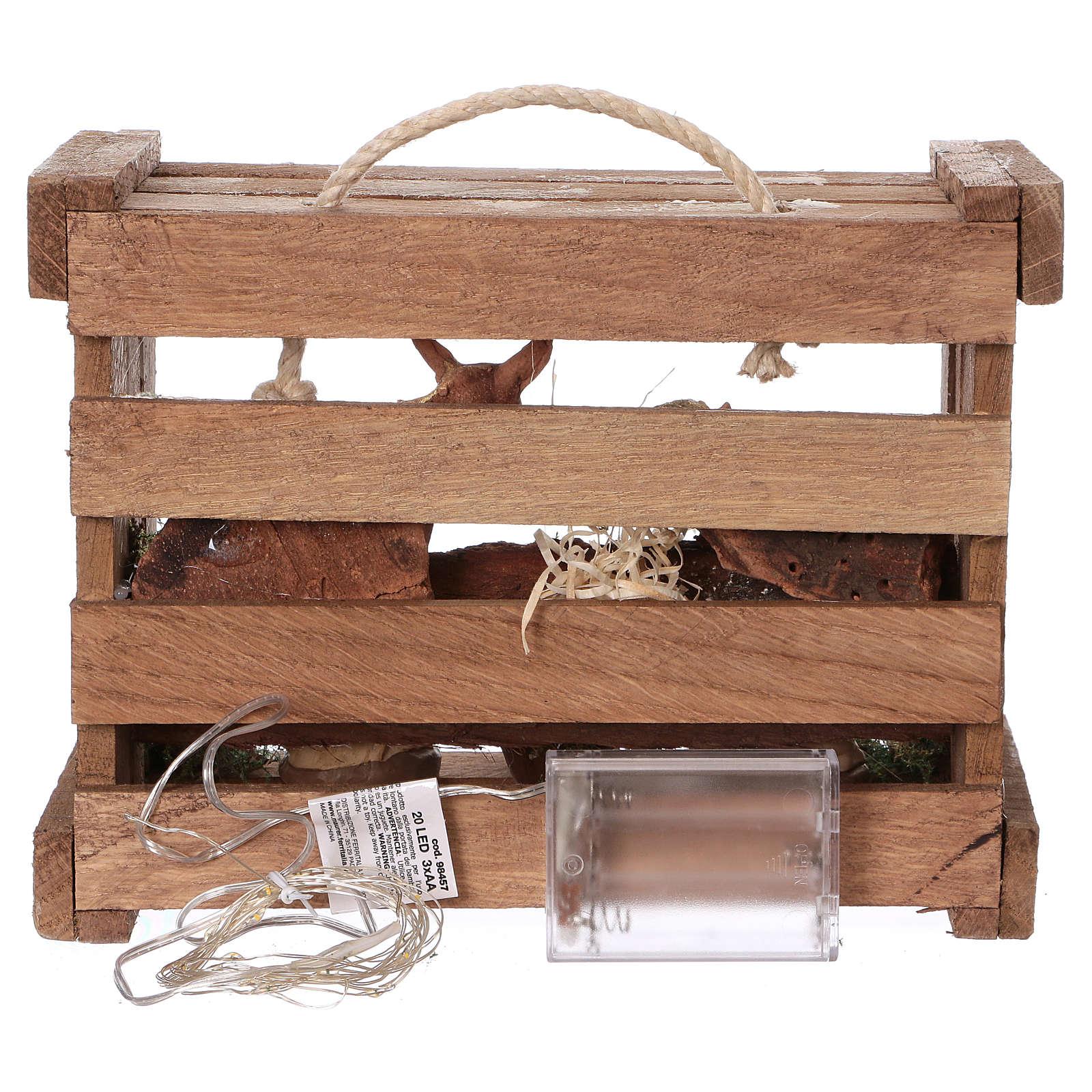 Cassetta con luci portatile legno Natività presepe 10 cm Deruta 4