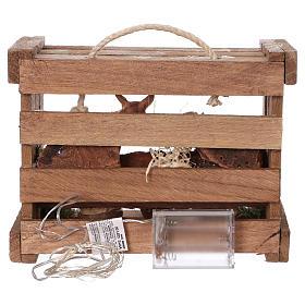 Cassetta con luci portatile legno Natività presepe 10 cm Deruta s5