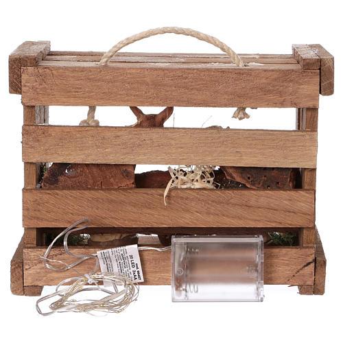 Cassetta con luci portatile legno Natività presepe 10 cm Deruta 5