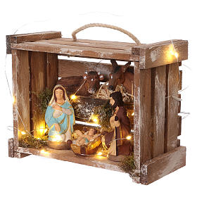 Portable wood and moss box with lights and Deruta Nativity scene 10 cm s3