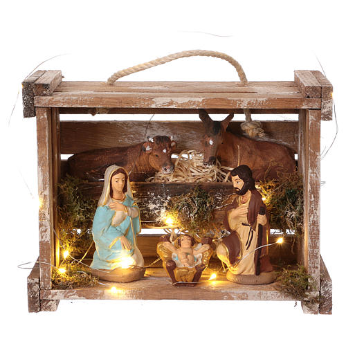 Portable wood and moss box with lights and Deruta Nativity scene 10 cm 1