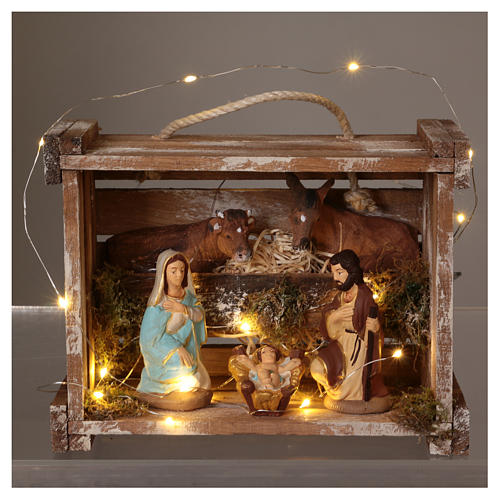 Portable wood and moss box with lights and Deruta Nativity scene 10 cm 2