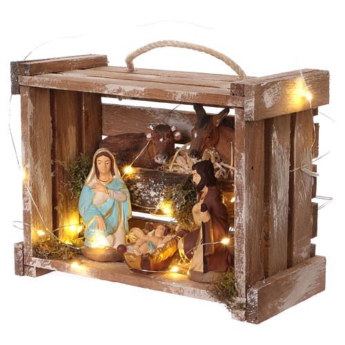 Portable wood and moss box with lights and Deruta Nativity scene 10 cm 3