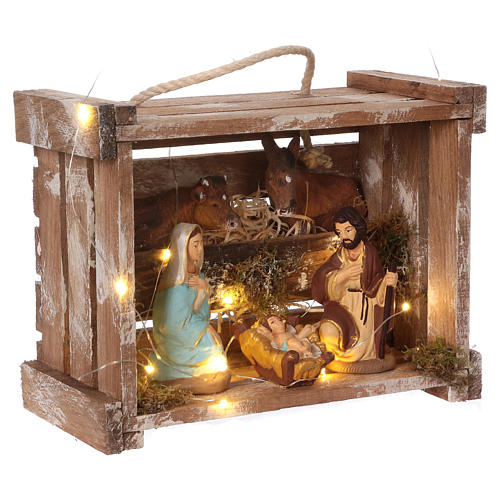 Portable wood and moss box with lights and Deruta Nativity scene 10 cm 4