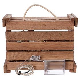 Cassetta luci portatile legno muschio Natività presepe 10 cm Deruta s5