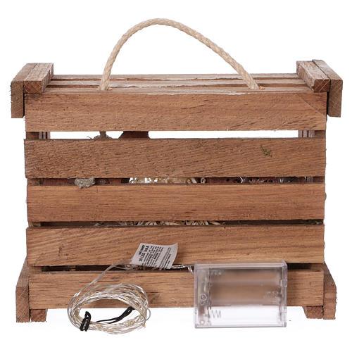Cassetta luci portatile legno muschio Natività presepe 10 cm Deruta 5