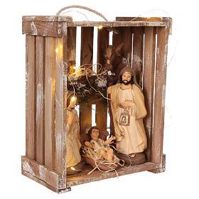 Cajita luces portátil madera musgo con Natividad belén 20 cm Deruta s4