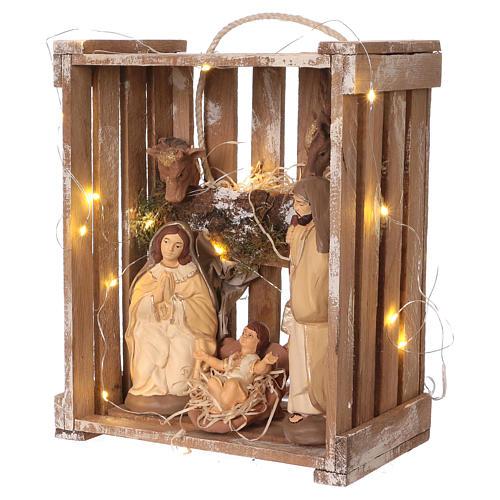 Cajita luces portátil madera musgo con Natividad belén 20 cm Deruta 3