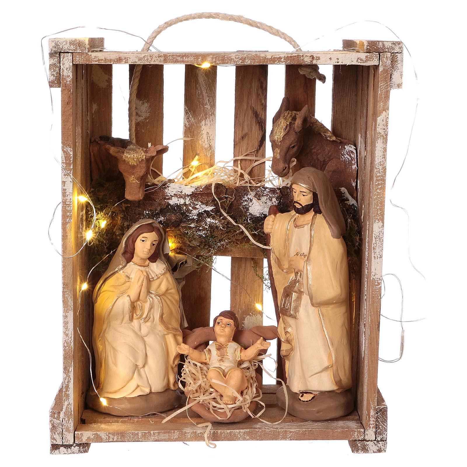 Caisse avec éclairage et poignée bois et mousse avec Nativité 20 cm Deruta 4