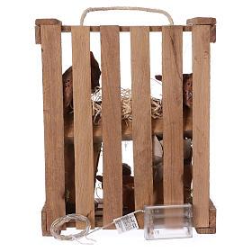 Caisse avec éclairage et poignée bois et mousse avec Nativité 20 cm Deruta s5