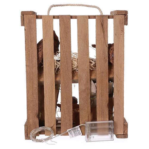 Caisse avec éclairage et poignée bois et mousse avec Nativité 20 cm Deruta 5