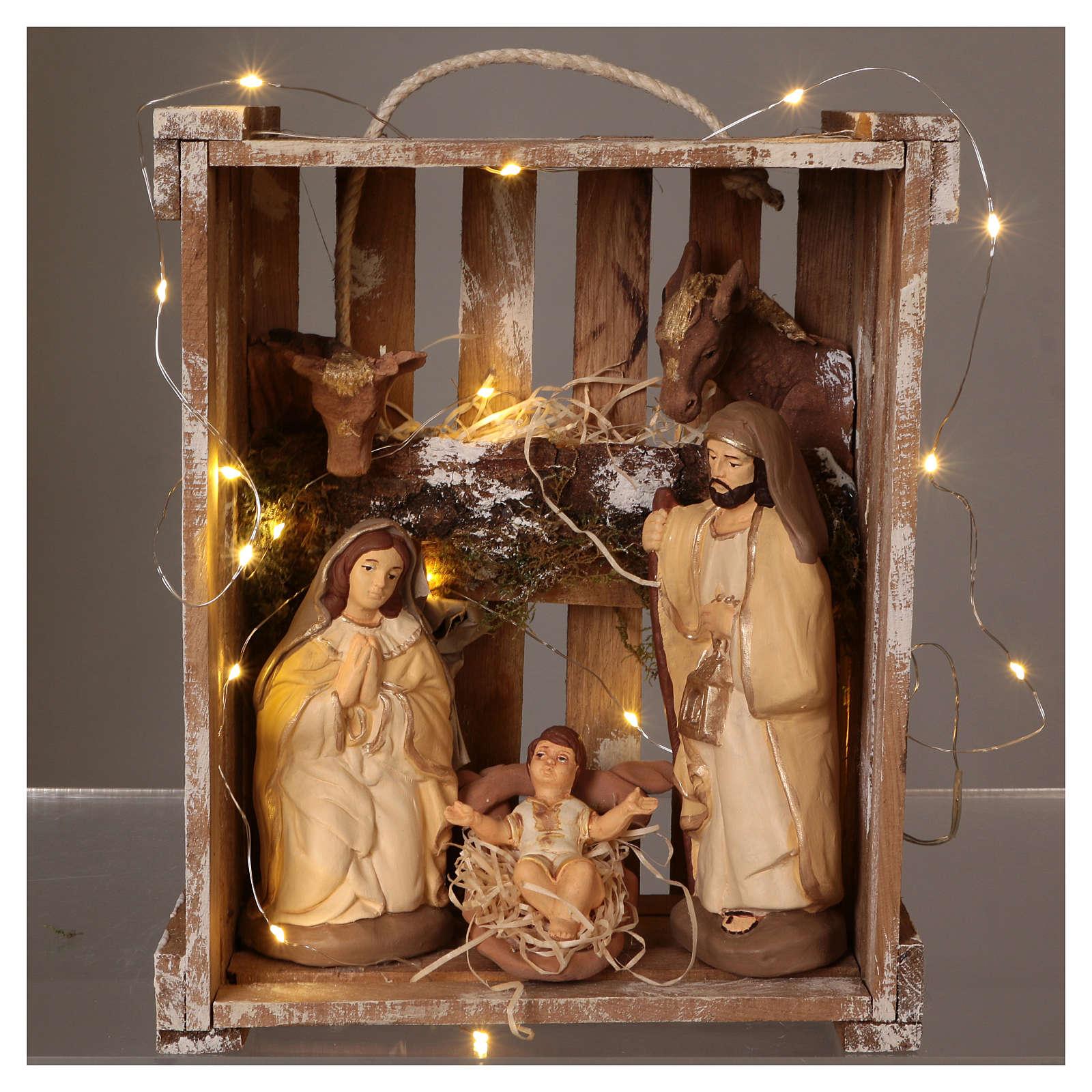 Cassetta luci portatile legno muschio con Natività presepe 20 cm Deruta 4