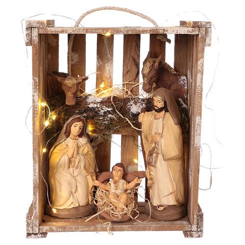 Cassetta luci portatile legno muschio con Natività presepe 20 cm Deruta 1