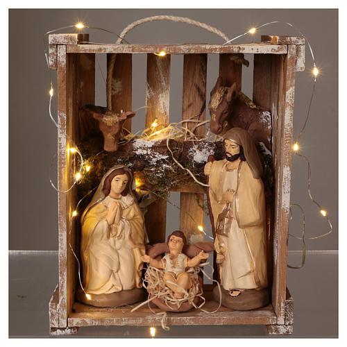 Cassetta luci portatile legno muschio con Natività presepe 20 cm Deruta 2