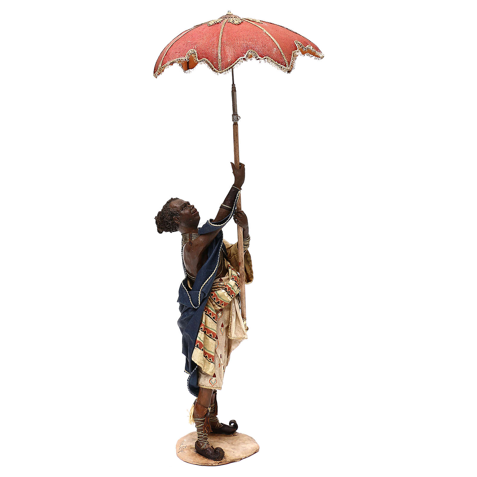 Slave with umbrella, 30 cm Angela Tripi Nativity Scene 4