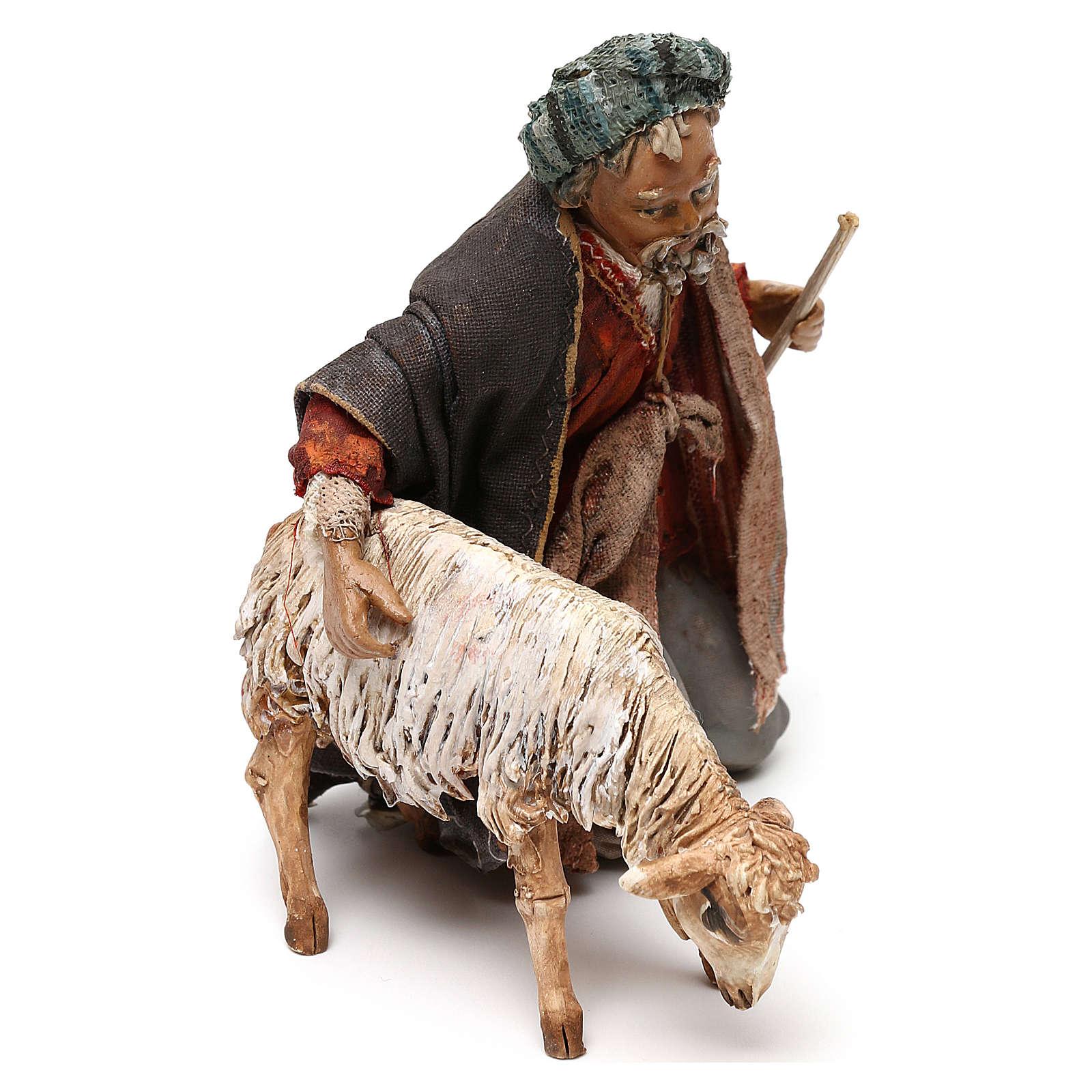 Nativity scene shepherd with goat, 13 cm by Angela Tripi 4