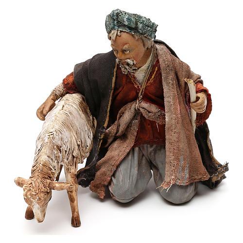 Nativity scene shepherd with goat, 13 cm by Angela Tripi 1
