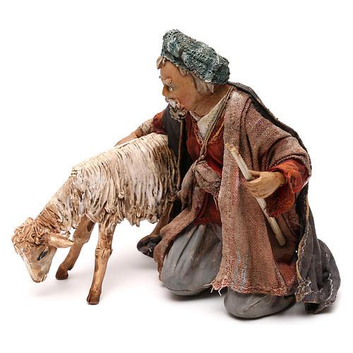Nativity scene shepherd with goat, 13 cm by Angela Tripi 3