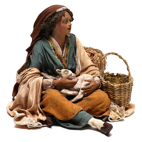 Mujer con cabrito belén 30 cm Tripi 5