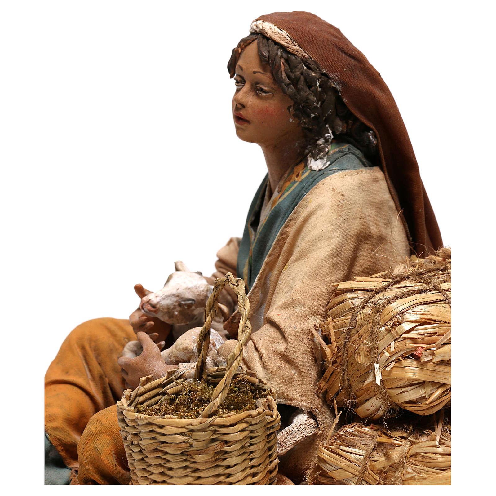 Donna con capretto presepe 30 cm Tripi 4