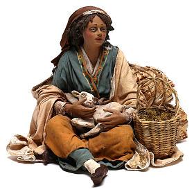 Donna con capretto presepe 30 cm Tripi s1
