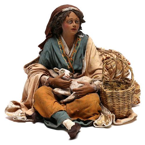 Donna con capretto presepe 30 cm Tripi 1