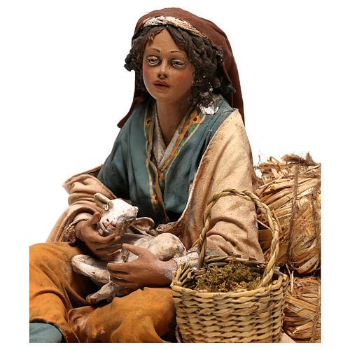 Donna con capretto presepe 30 cm Tripi 2