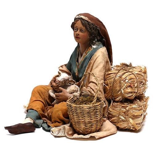 Donna con capretto presepe 30 cm Tripi 3