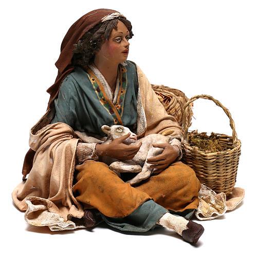 Donna con capretto presepe 30 cm Tripi 5