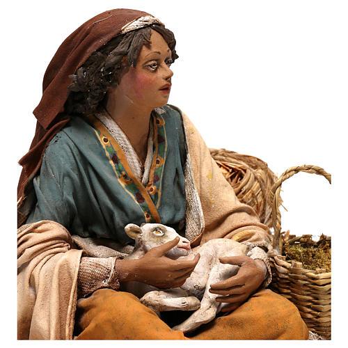 Donna con capretto presepe 30 cm Tripi 6