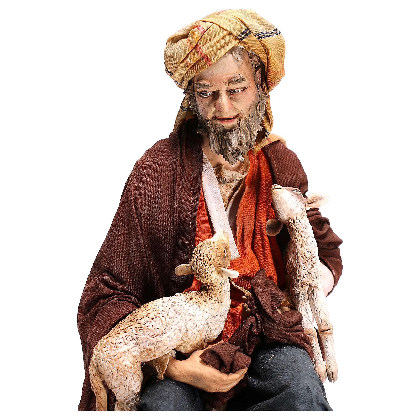 Shepherd sitting with sheep, 30 cm Angela Tripi figurine 4
