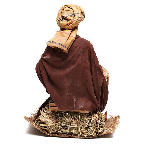 Shepherd sitting with sheep, 30 cm Angela Tripi figurine 6