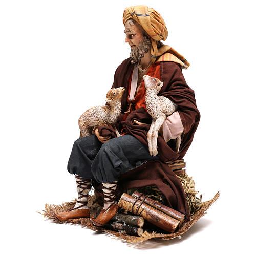 Pastore seduto con pecorelle 30 cm Angela Tripi 3