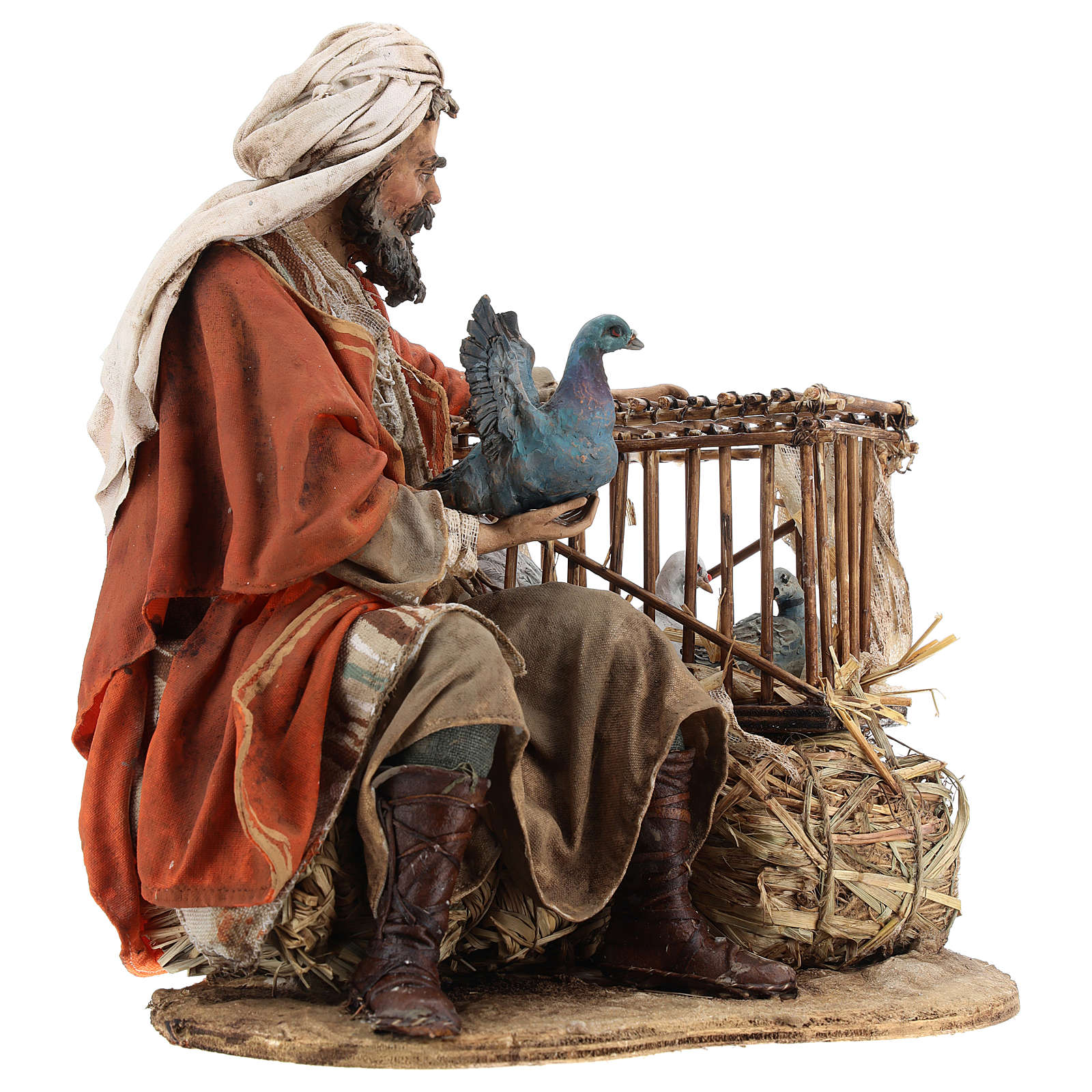 Hombre con jaula de pájaros 30 cm belén Tripi 4