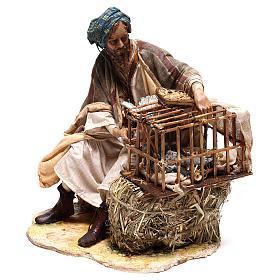 Homme avec cage d'oiseaux 30 cm crèche Tripi s3
