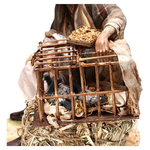 Homme avec cage d'oiseaux 30 cm crèche Tripi 6