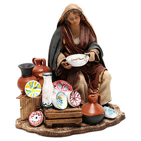 Nativity scene figurine, woman selling pottery by Angela Tripi 13 cm s3
