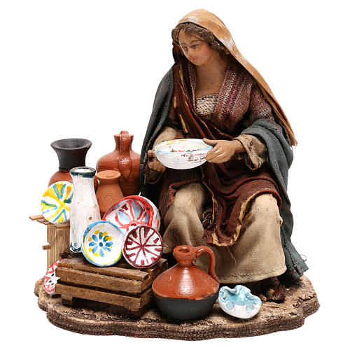 Nativity scene figurine, woman selling pottery by Angela Tripi 13 cm 1